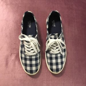 Navy Gingham Shoes